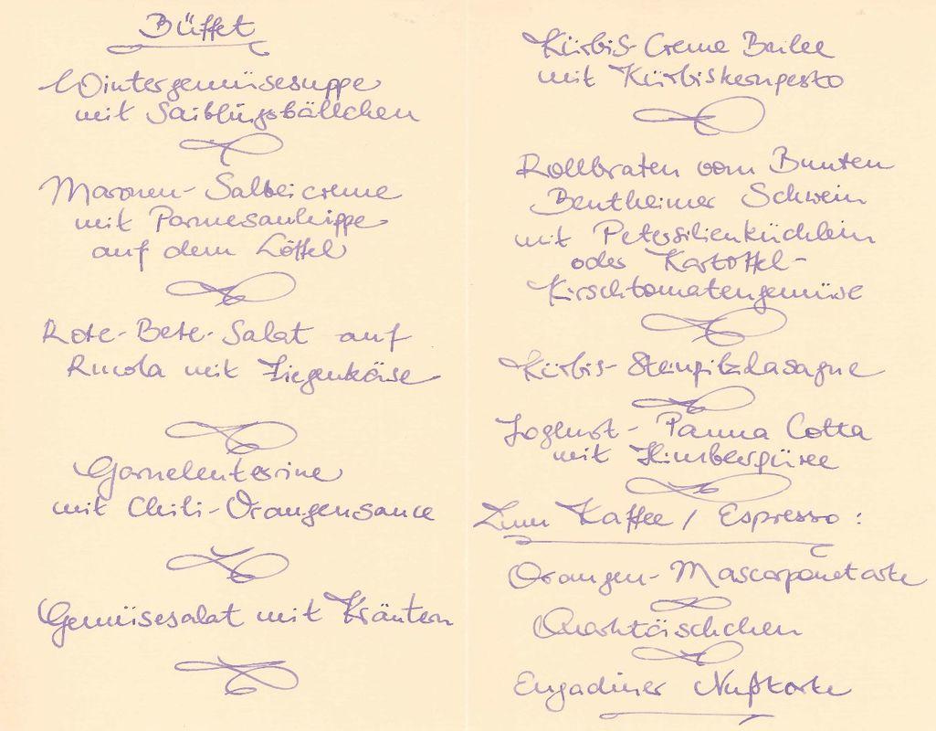 Handgeschriebene Speisekarte
