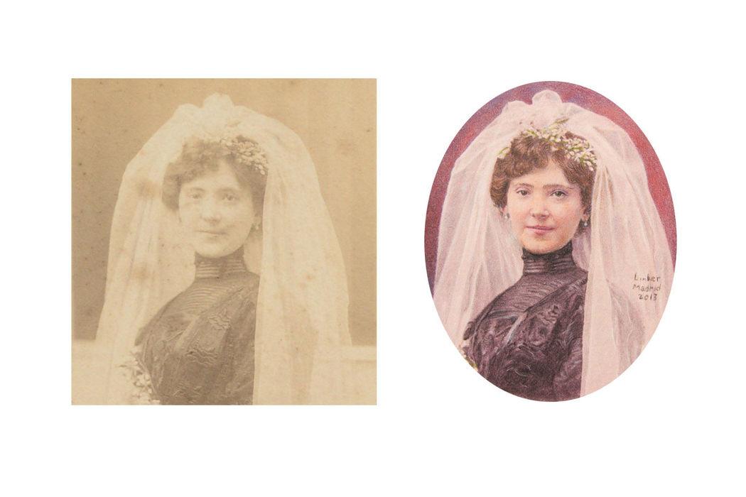 Pintan retratos de viejas fotos de familia que se están deteriorando.