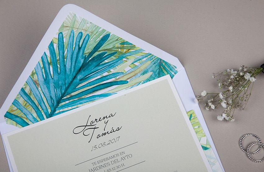 Invitaciones de boda tropicales