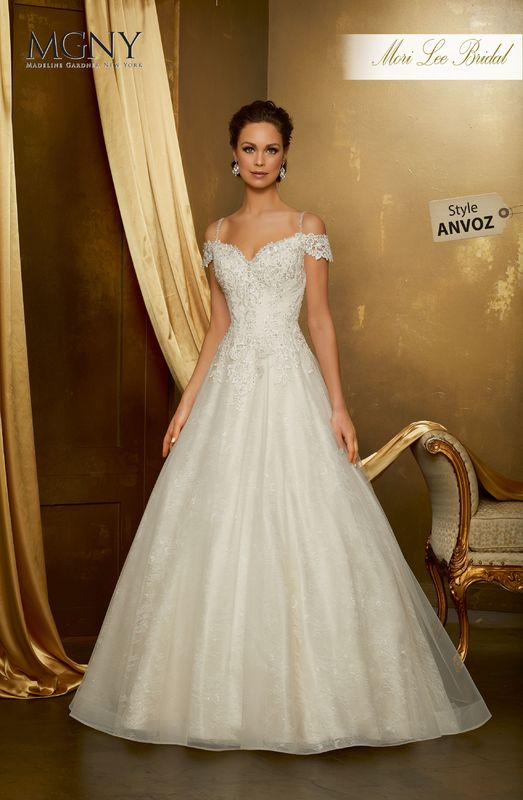 Style ANVOZ Odelia  Diamanté and crystal beaded embroidered appliqués on a soft tulle ball gown over chantilly lace