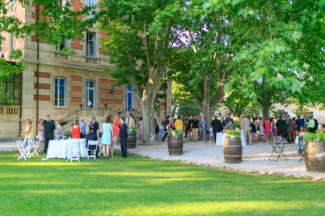 Vin d'honneur dans le parc du château