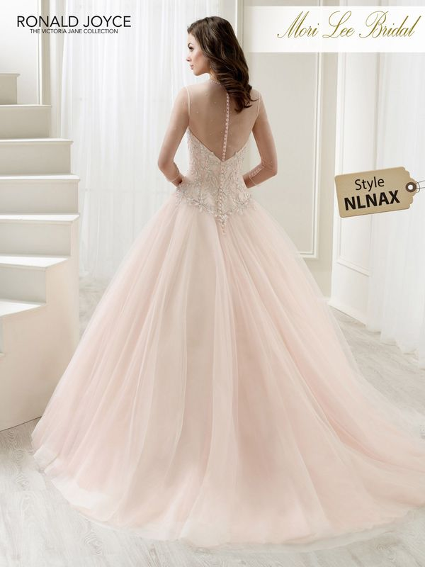 Style NLNAX LADY A STRAPLESS TULLE BALL GOWN WITH A BEADED EMBROIDERED BODICE AND WIDE HEMLINE. DRESS COMES WITH A ¾ LENGTH SLEEVED MATCHING BODYSUIT. PICTURED IN BLUSH/CHAMPAGNE.  COLOURS WHITE, IVORY, BLUSH/CHAMPAGNE