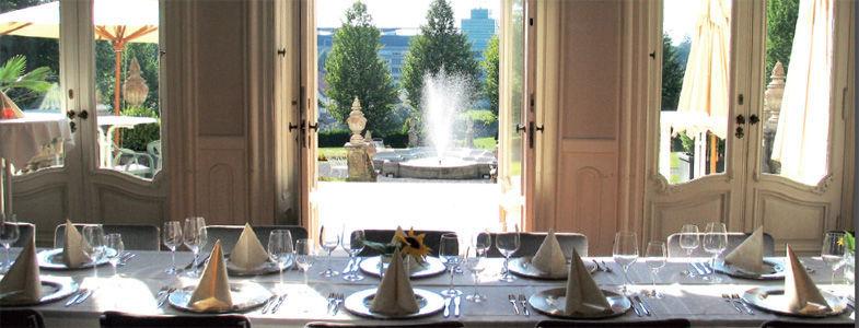 Beispiel: Ihre Hochzeitstafel mit Zugang zur Terrasse, Foto: Villa Raczynski.
