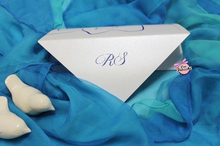 Coi Fiocchi wedding design - partecipazione di nozze con iniziali in termorilievo