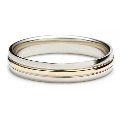 AM20 Aros de matrimonio hechos a medida en oro blanco y amarillo 18K.