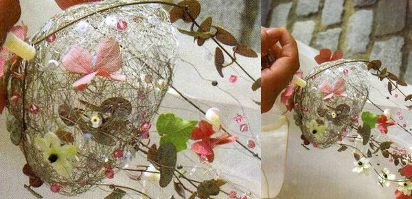 Estructura de hilo de plata cómo ramo de novia , especial sofisticado y atrevido.  http://lafloreria.net