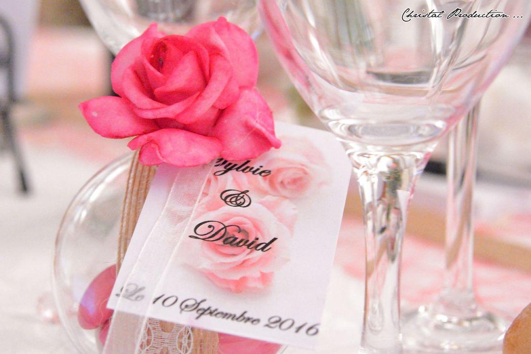 Mariage thème rose chic : dragées