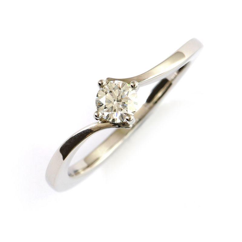 Verlobungsring in Weissgold 750 mit weissem Brillant
