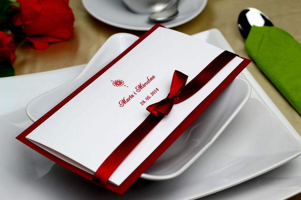 Klasyczne zaproszenie ślubne - Bordo