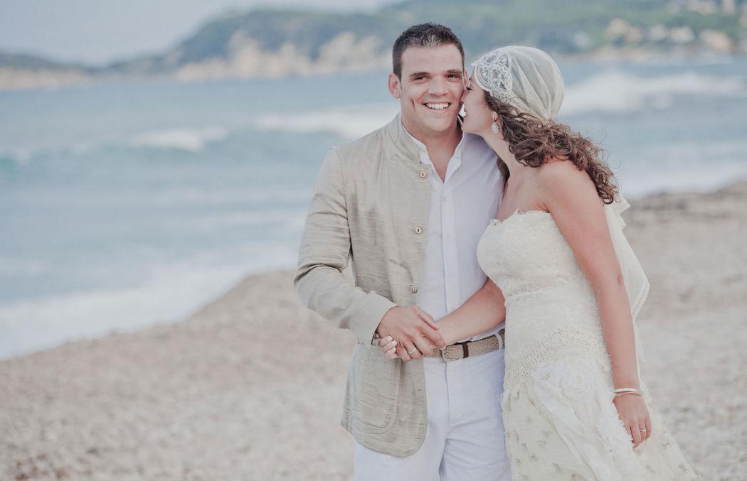 Boda celebración del amor en la playa