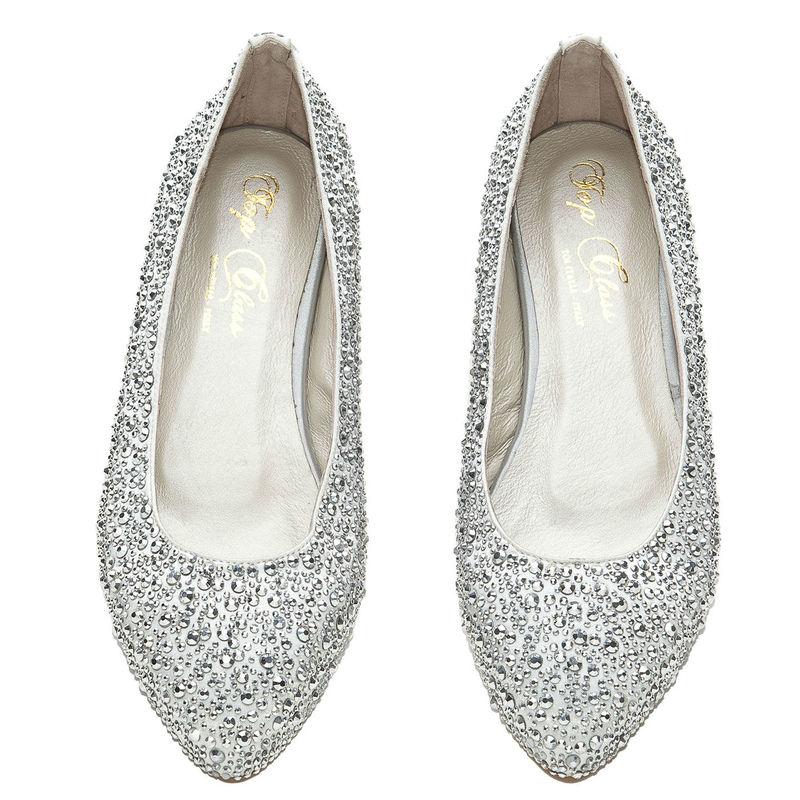 Arya Italian Jewels - Scarpe Sposa e matrimonio - Ballerine silver con strass Swarovski