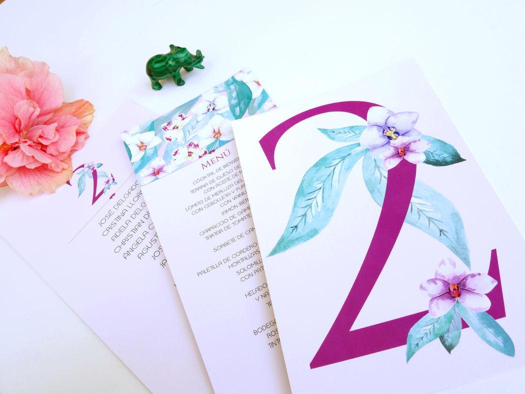 Mesero, menú y plan de mesas de la Colección Orquídeas Verde