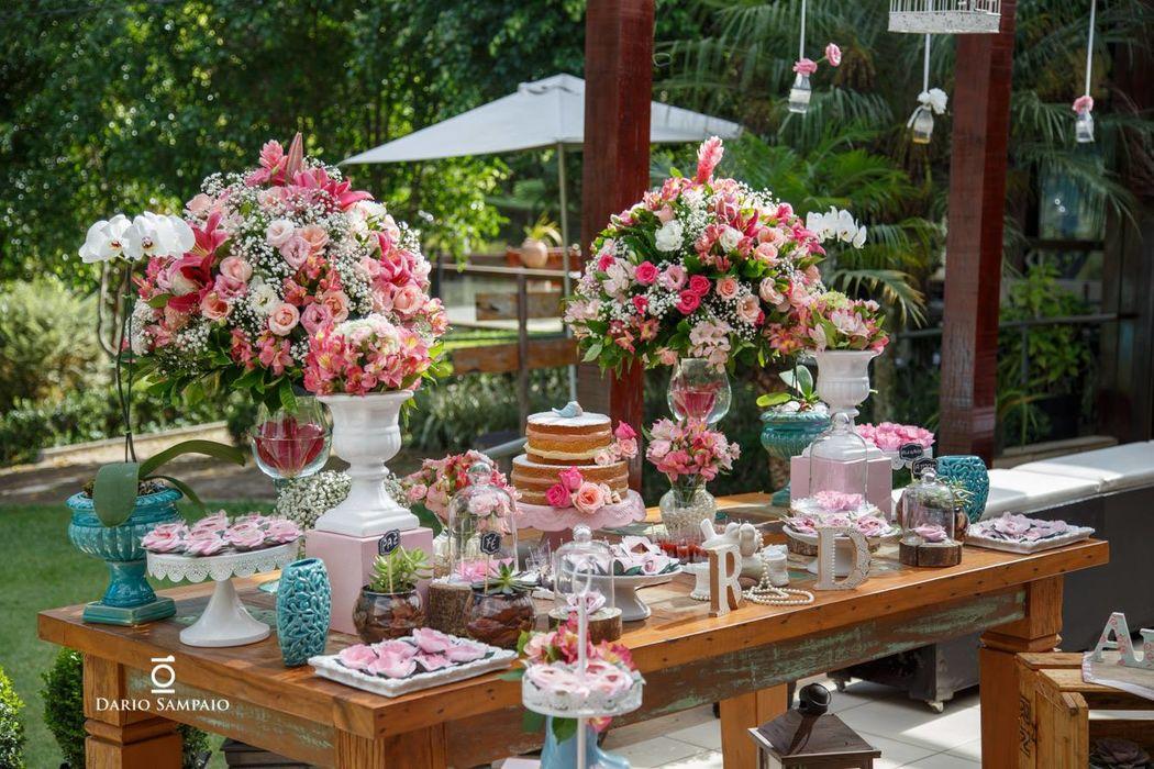 Mesa do Bolo Decorada - Rosa/Tiffany