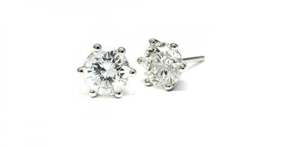 Pendientes de Diamantes en Oro Blanco engastado en garra