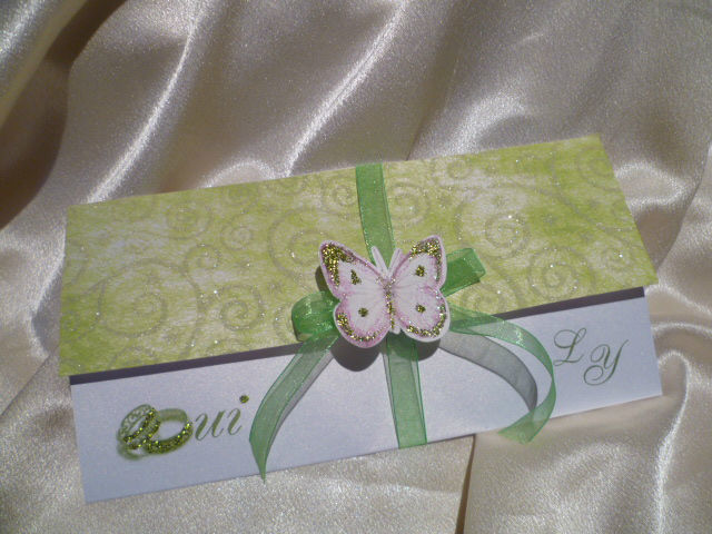 faire part 3  volets horizontal, blanc vert anis papillon