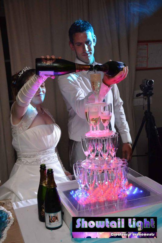 Mise en Valeur de la fontaine de champagne pour les mariés