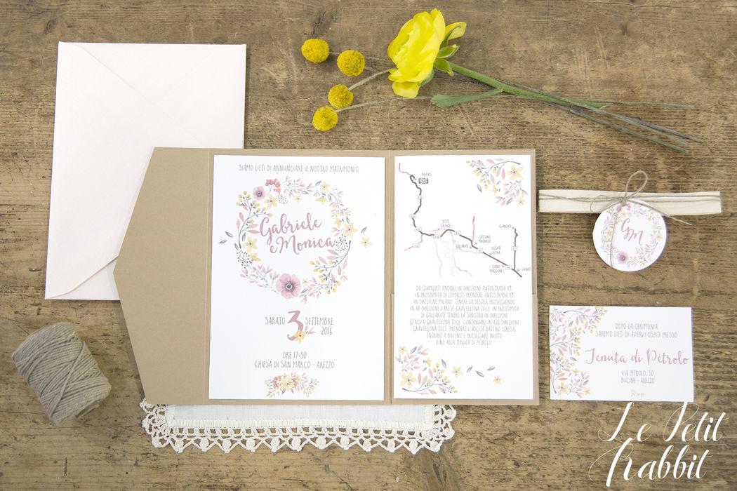 Partecipazione di nozze Watercolor Flowers