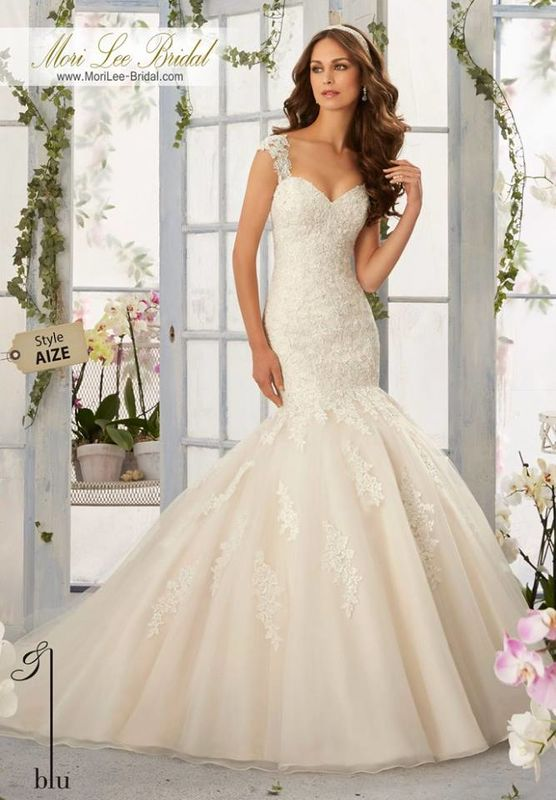 Wedding Gown AIZE  Alencon Lace Appliques with Frosted Beading Onto the Tulle, Mermaid Gown  Colors available: White, Ivory, Ivory/Light Gold.