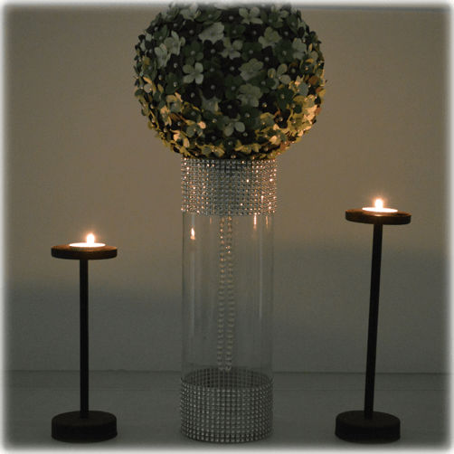 Centro de mesa cilindro grande con pelota floral