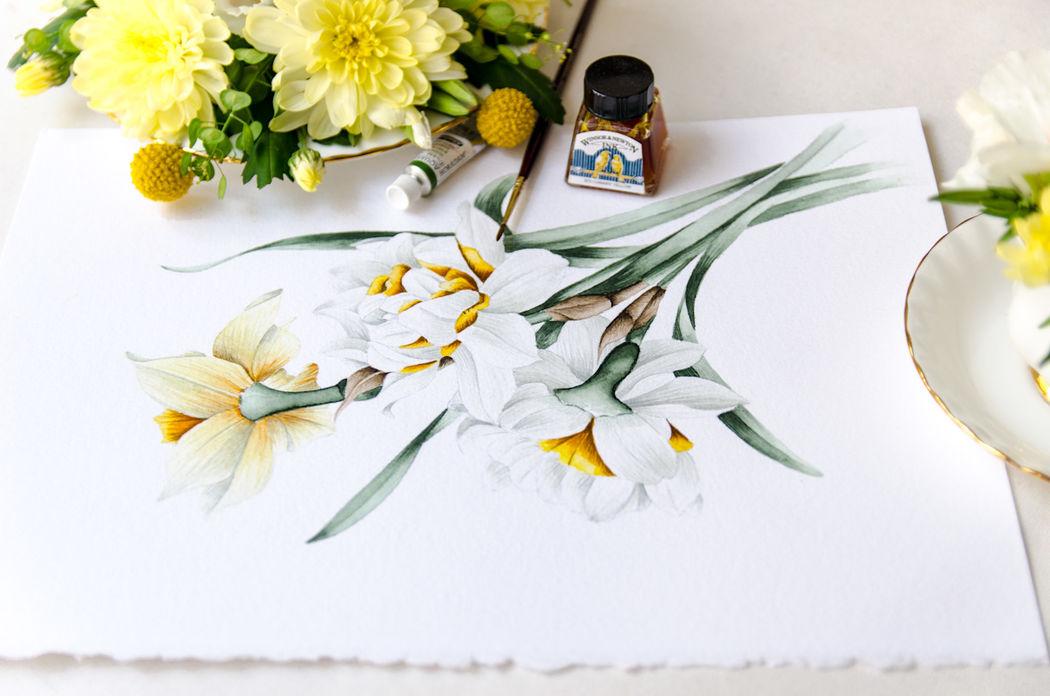 Dibujo original en acuarela para la colección de invitaciones de boda Romántica Narcisos.