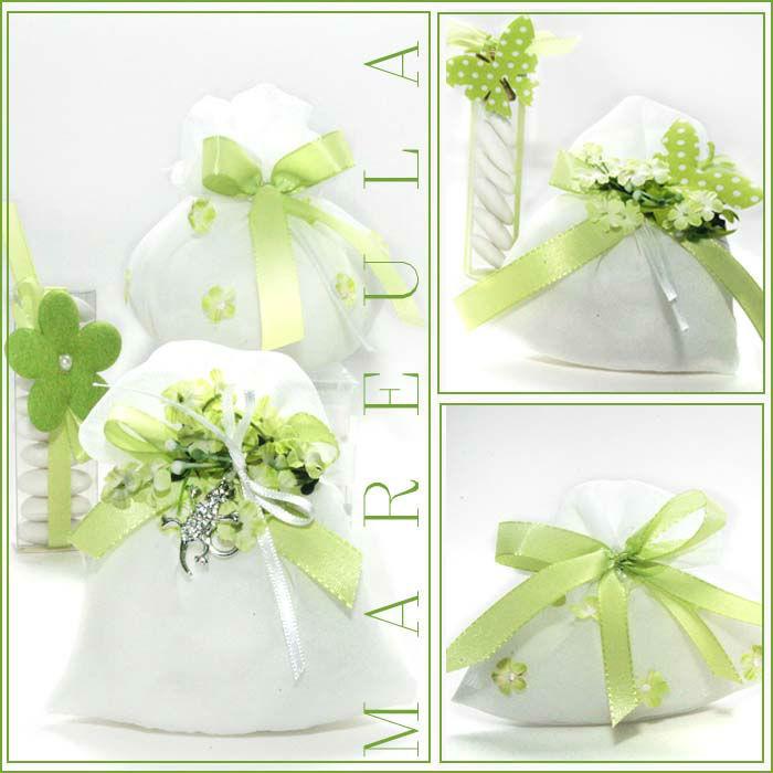 Bomboniere Fiore Verde Matrimonio Comunione Cresima