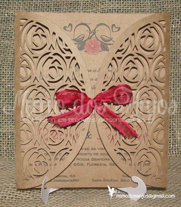 Convite Mimo dos Anjos kraft rosas