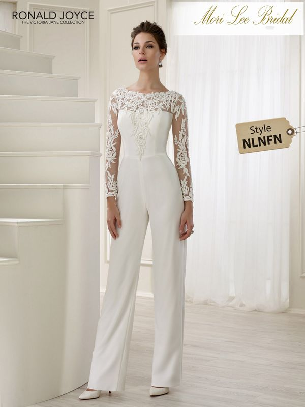 Style NLNFN LEA A UNIQUE TULLE, CREPE AND JERSEY TROUSER SUIT WITH LACE MOTIFS, LONG SLEEVES, KEYHOLE BACK AND A DETACHABLE WAIST TRAIN. PICTURED IN IVORY.  COLOURS WHITE, IVORY