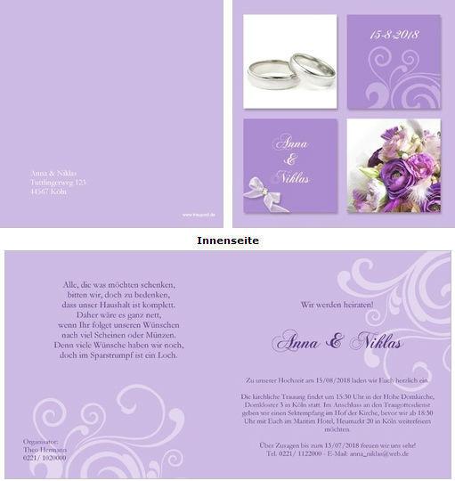 Hochzeitskarten in verschiedenen Formaten