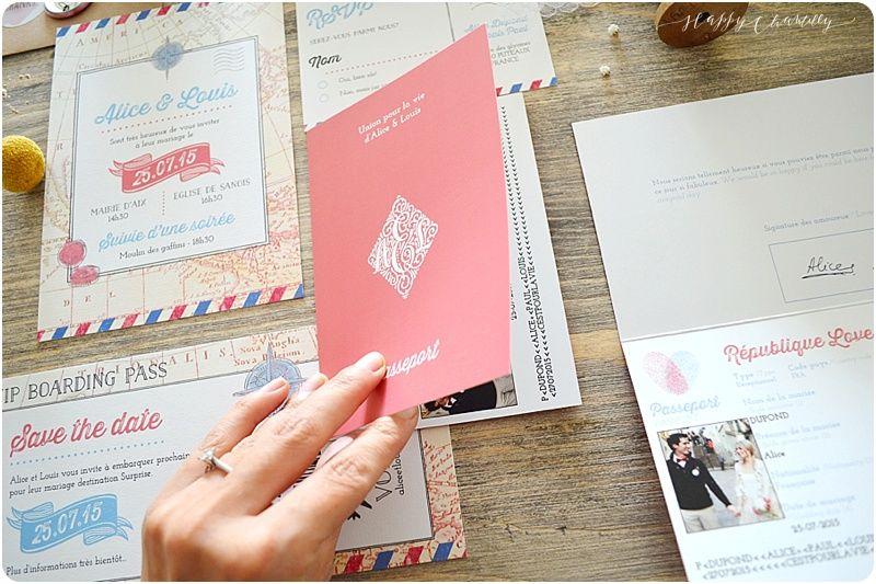 Faire-part mariage Voyage Personnalisable: billet d'avion, passeport, etc... Happy Chantilly