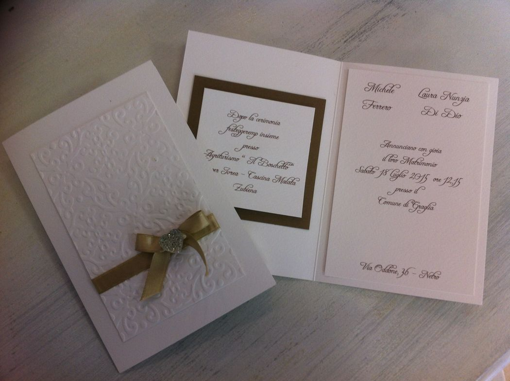 Partecipazione invito per matrimonio color champagne