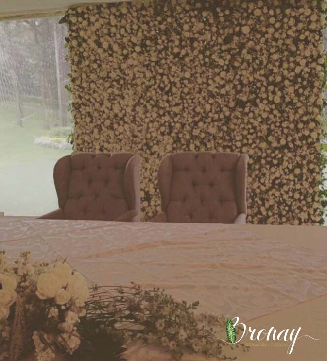 flower wall para mesa de novios
