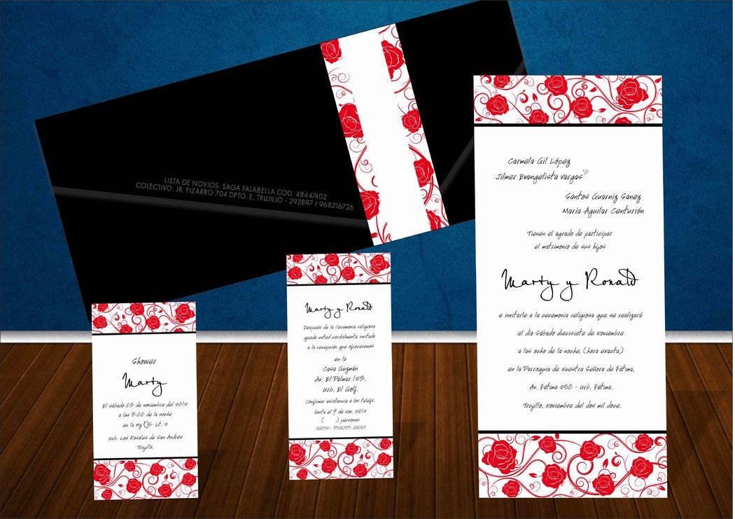Invitacion detalles de rosas y sobre negro