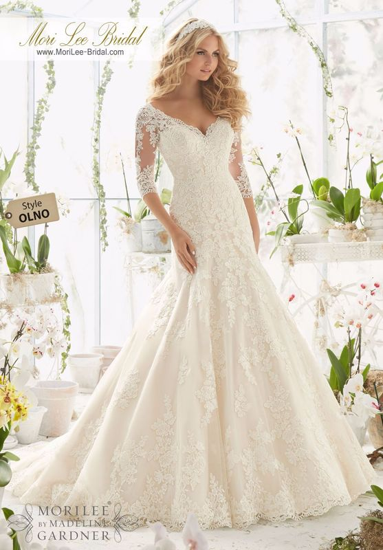 "Dress Style OLNO Alencon Lace Appliques On Net Frosted With Delicate Beading And Scalloped Hemline  Available in Three Lengths: 55"", 58"", 61"". Colors Available: White, Ivory, Ivory/Light Gold."