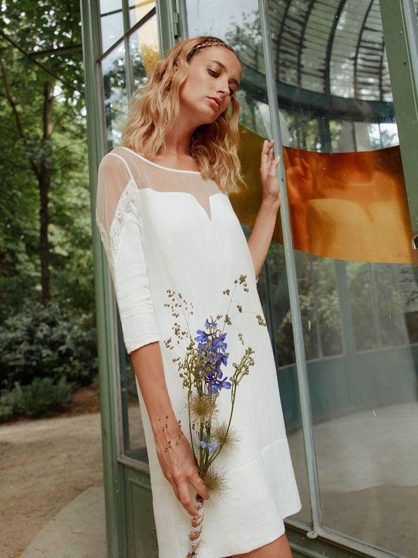 ELSA - Robe de mariée courte ajourée aux épaules - Myphilosophy Paris