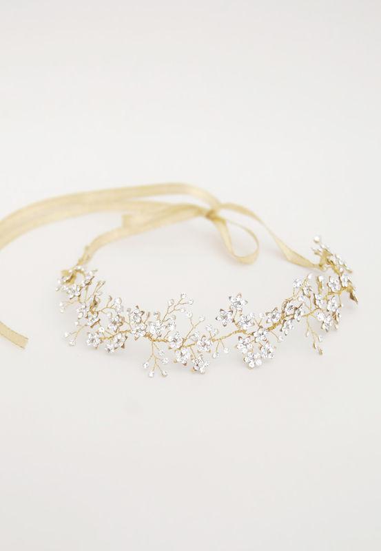 Corona gioiello con swarovski e fiori | Elibre Handmade