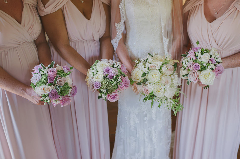 Bride and Bridesmaids bouquets. This seasons pink