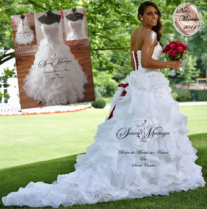 robe de mariée bustier perlé et strass jupe volants d\u0027organza Merci à  Jessica Houara