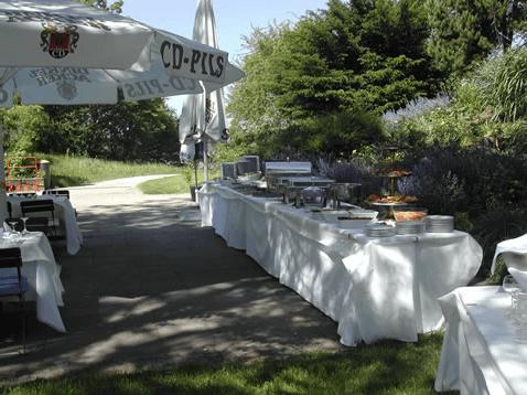 Beispiel: Buffet draußen, Foto: Teehaus Weissenburgpark.