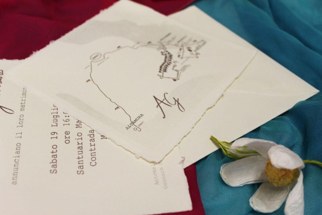 Coi Fiocchi wedding design - partecipazione di nozze e cartina in carta di Amalfi