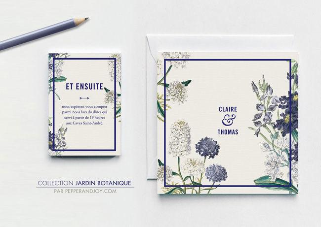 Faire-part, invitation de mariage rustique chic avec cette création originale 'Jardin Botanique