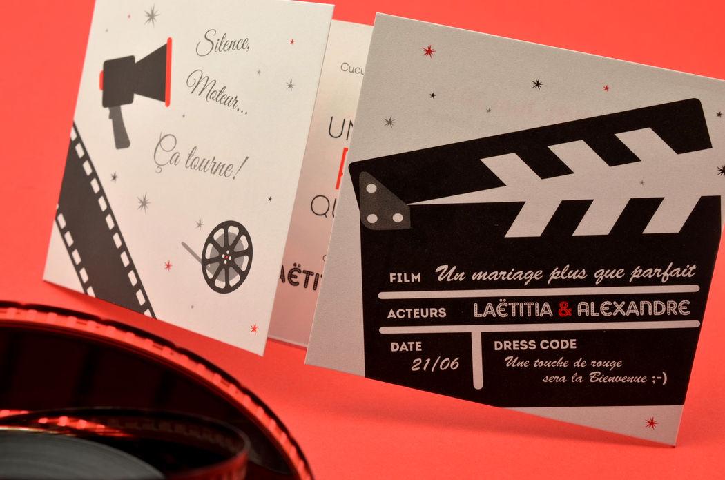 Faire-part Mariage Cinéma L' Atelier d'Elsa Le Véritable Sur Mesure