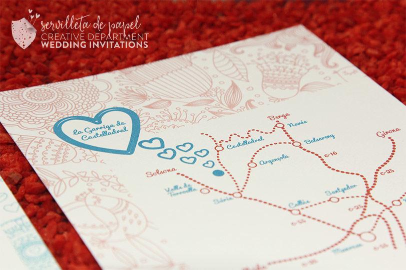 Invitación de boda Montse + Arthur   www.servilletadepapel.es