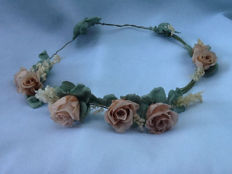 Flor de Cór - guirlanda de rosas nude naturais preservadas