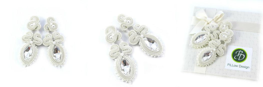 Małgorzata Sowa - PiLLow Design, Biżuteria ślubna sutasz. Kryształowe kolczyki ślubne - kryształy Swarovski, sutasz, srebro