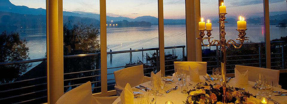 Beispiel: Feiern mit Ausblick, Foto: Seehotel Hermitage.