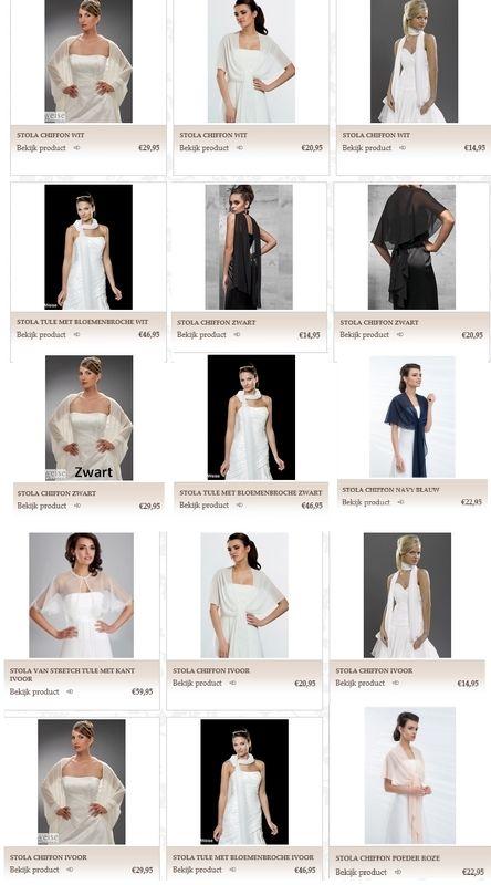 www.kristinabruidsmode.nl Stola's in de kleuren wit, ivoor, poeder roze, blauw en zwart