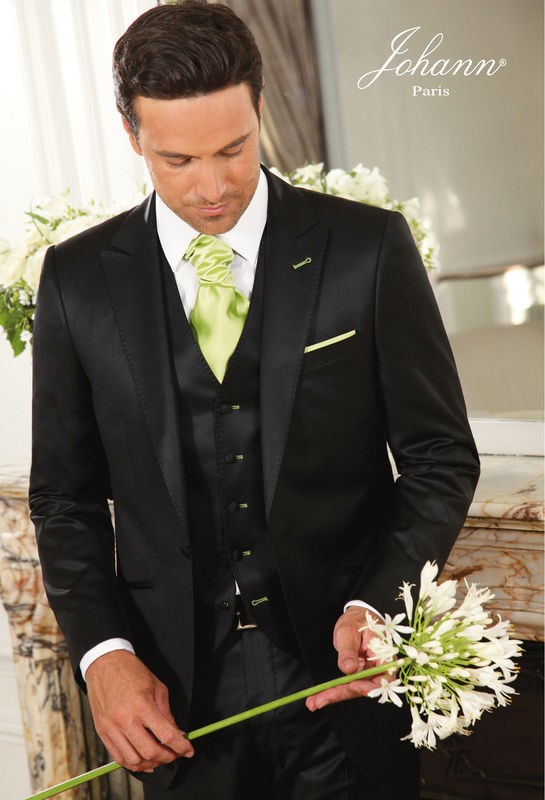 Costume mariage avec gilet et finitions Vert Anis - Johann