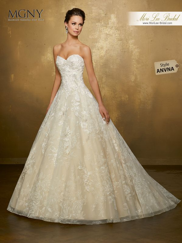 Style ANVNA Okalani  Diamanté and crystal beaded, embroidered appliqués on a floral printed organza ball gown