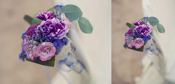 Detalle en las sillas , en colores lilas y malvas.  http://lafloreria.net