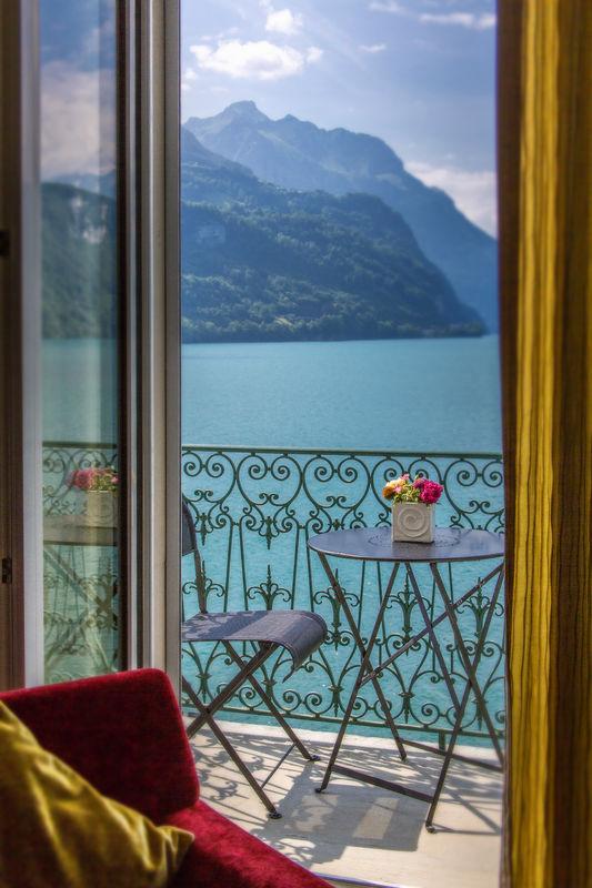 Zimmer mit Blick auf den Vierwaldstättersee, Foto: Seehotel Waldstätterhof